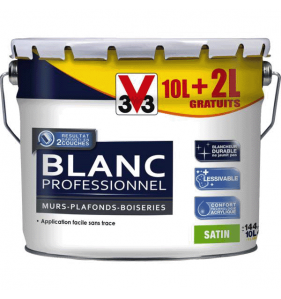 V33 PEINTURE Peint Blanc Pro Mat 10 + 2L