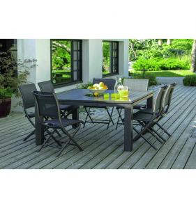 PRO LOISIRS Table Latino 220X98 Alu Lattes Grey