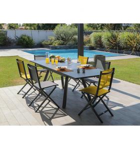 PRO LOISIRS Table Agra 150/200/250X90 Alu Verre