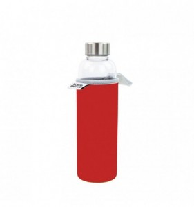 GLASS BOTTLE 500 ml avec pochette neoprene rouge & Coffret